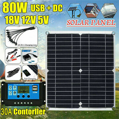 £27.99 • Buy Portable 80W Solar Panel Kit Battery Charger 30A Controller Car Van Camping Boat