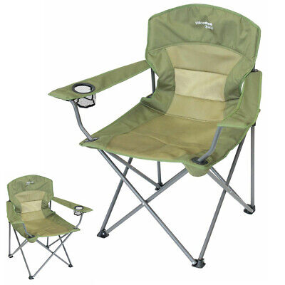 £14.95 • Buy Folding Camping Chair Heavy Duty High Back Directors Cup Holder Festivals Hiking