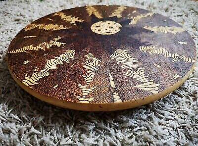 £40 • Buy Wooden Lazy Susan Turntable With Forest Scene Burnt On