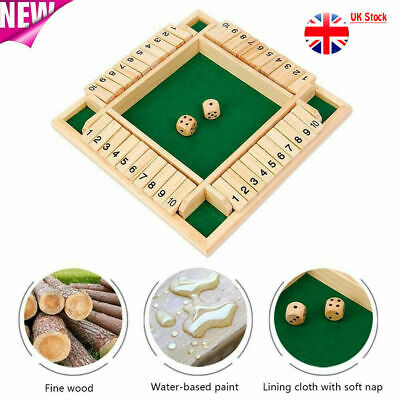 £10.99 • Buy 4 Players Shut The Box Dice Game Board Family Kids Adults Wooden Traditional Pub