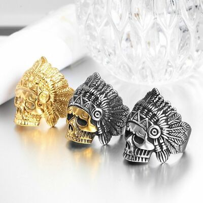 £7.65 • Buy Indian Chief Head Skull Ring Stainless Steel Biker Men Jewelry Gold Silver Color
