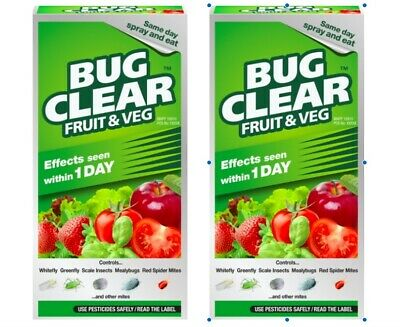 £19.95 • Buy 2x FRUIT & VEG Bug Clear Insecticide Killer White/Green Fly 250ml Concentrate