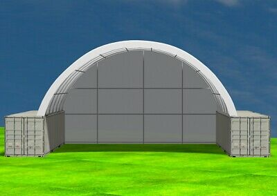 AU7650 • Buy NEW 40ft X 40ft Shipping Container Dome Shelter With End Wall