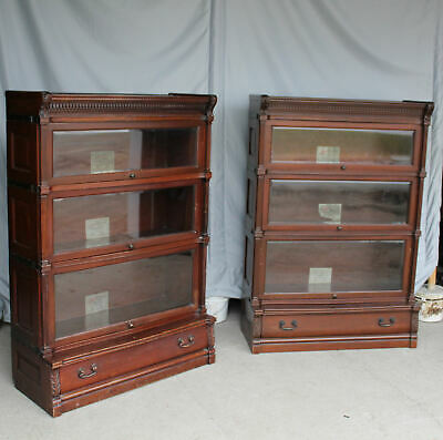 $5250 • Buy Antique Pair Of Mahogany Sectional Beveled Glass Bookcases – Globe Wernicke Idea
