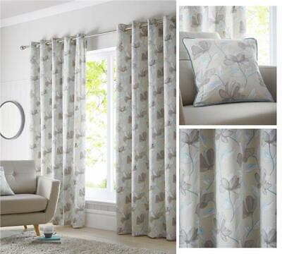 Lined Curtains Eyelet Ring Top Teal Blue & Natural / Grey Ready Made Sizes • 19.99£