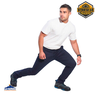 £18.95 • Buy Portwest Slim Fit Work Trousers Super Stretch Three Pockets Chino Pants Mens