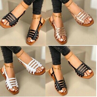 Ladies Gladiator Sandals New Womens Flat Strappy Fancy Summer Beach Shoes Size • 11.98£