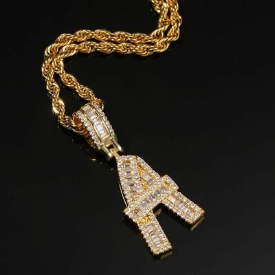 £11.42 • Buy Gold Baguette Letter Pendant Necklace Initial Letters Iced Out Cubic Zirconia