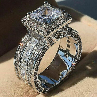 £5.99 • Buy Women Crystal Wedding Engagement Ring Silver Plated