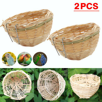 2x Bamboo Wicker Canary Nest Pans Small Bird Hanging Nest Box Cage With Hook UK • 5.69£