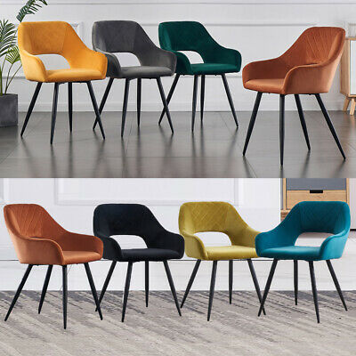 £109.99 • Buy Set Of 1/2 Dining Chairs Velvet Upholstered Seat Armchairs With Backrest Kitchen