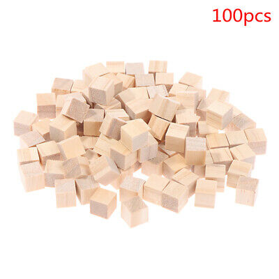 £4.44 • Buy 100pcs Unfinished Blank Mini DIY Wooden Square Solid Cubes For Woodwork CraftOJU