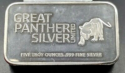 AU324.16 • Buy Great Panther Limited 5 Oz Silver Art Bar Some Toning Rare Bar