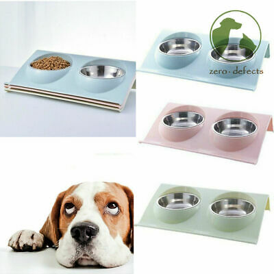 £6.89 • Buy Double Bowls Raised Stand For Cat Pet Dog Puppy Non-Slip Splash Feeder Food Bowl