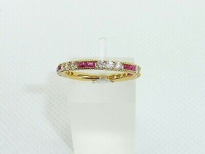 £29.85 • Buy Ladies 18 Carat Gold & 925 Sterling Silver White Sapphire Red Ruby Eternity Ring