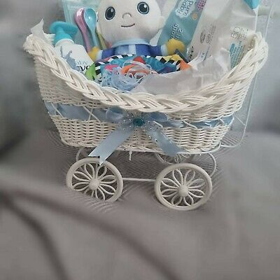 £60 • Buy Baby Pram Hamper Wicker Basket Full Of Goods. Quality Gifts Packaged With Love