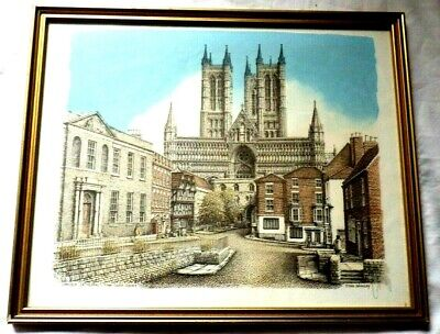 £24.85 • Buy Signed Framed Colour Print Of Lincoln Cathedral By John Bangay 40cm X 33cm Frame