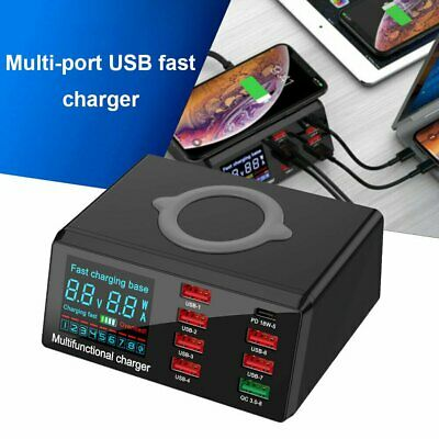 AU47.89 • Buy 100W 8 Ports USB Charger Quick Charge 3.0 Adapter HUB Wireless Charging Station