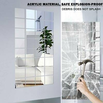 £7.99 • Buy Glass Mirror Tiles Wall Sticker Square Self Adhesive Stick On Art Home Decor 32X