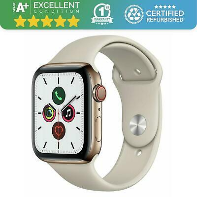 $ CDN562.28 • Buy Apple Watch Series 5 44MM - Cellular GPS - Gold Stainless Steel - Stone Band