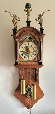 AU322.53 • Buy Warmink Wall Clock Friese Tailed Oak Dutch Vintage 8 Day Chain Driven Moonphase