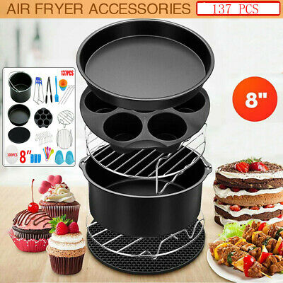 AU50.99 • Buy 137PCS 8  Air Fryer Accessories Rack Cake Pizza Oven Barbecue Frying Pan Tray