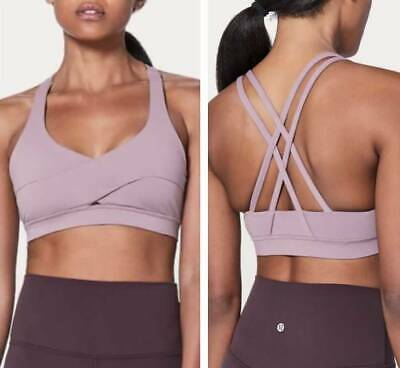 $ CDN60.05 • Buy NEW LULULEMON Energy Bra Long Line SE Wrap Dusty Mauve Pad Strappy Sports Bra 12