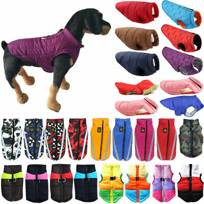 Pet Dog Puppy Waterproof Jacket Vest Clothes Zip Up Puffer Padded Coat Apparel • 10.29£