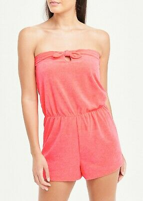 £7.99 • Buy Matalan Bandeau Coral Towelling Playsuit Beach Holiday Pool  Sz S M L XL (ai)