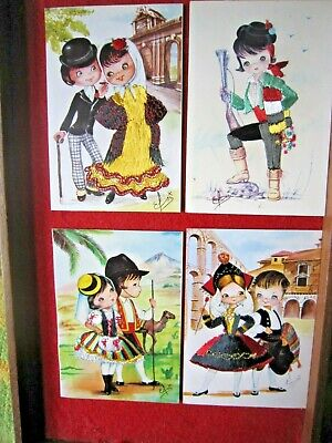 £7 • Buy 4 Modern Spanish Silk Embroidered Postcards  By Elsi