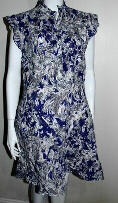 BRORA Stunning Cotton Dress In White, Blue, Grey And Gold, Size 16 • 24.99£
