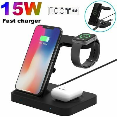 AU31.88 • Buy AU 3in1 Qi Wireless Charger Stand Dock For Samsung Galaxy Watch IPhone 12Pro Max