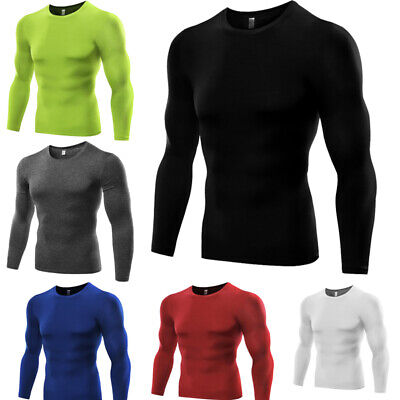 £9.99 • Buy Men'S Compression Shirt Base Layer Thermal Tights Top Long Sleeve Gym Activewear