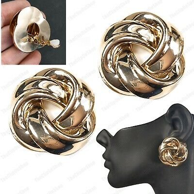 £3.99 • Buy CLIP ON Large KNOT EARRINGS Retro Vintage Clips GOLD TONE Big 30mm NON-PIERCED