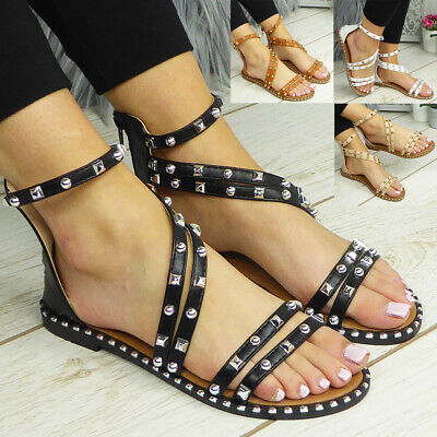 £12.99 • Buy Gladiator Sandals Flats Zip Strappy Summer Comfy Casual Shoes Ladies Womens Size