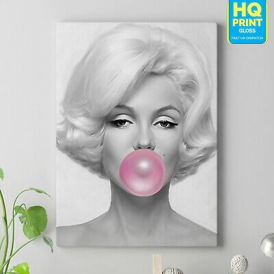 £17.99 • Buy Marilyn Monroe Pink Bubble Gum Wall Picture CANVAS Art Print