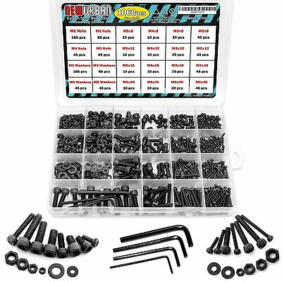 $25.99 • Buy 1060 Pcs M2 M3 M4 M5 - Alloy Steel Hex Socket Head Bolts And Nuts Set Hex Button