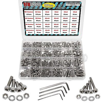 $22.99 • Buy 880 Pcs M2 M3 M4 M5-304 Stainless Steel Hex Socket Butto Head Bolts And Nuts Set