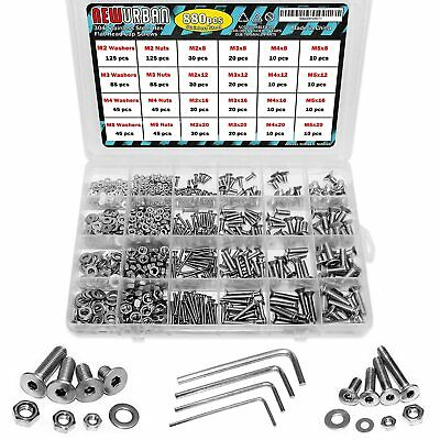 $22.99 • Buy 880 Pcs M2 M3 M4 M5-304 Stainless Steel Flat Head Bolts And Nuts Set