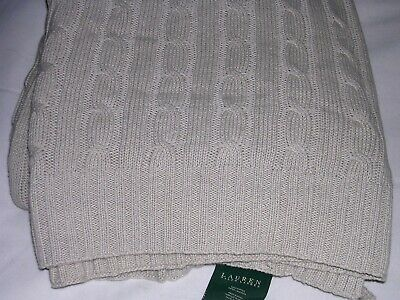 £28.39 • Buy 024A RALPH LAUREN 100% Cotton CABLE SWEATER KNIT MEADOW LANE Throw Blanket 50x70
