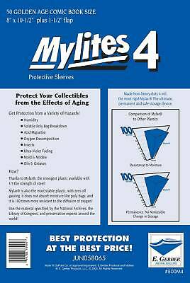 £27.99 • Buy Mylites 4  Protective Sleeves  Pack Of 50 Golden Age Comic Size (e. Gerber)