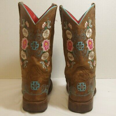 $55 • Buy Macie Bean Antiqued Honey Brown With Rose Garden Embroidery Square Toe Boots