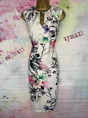 AU13.90 • Buy Coast White Floral Stretchy Pencil Dress Size 14