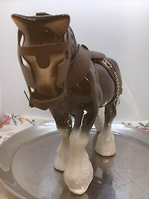 "Vintage Ceramic Decorative Shire Horse In Harness Figurine Ornament Stands 8"" • 6.50£"