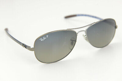 AU90.14 • Buy Ray-Ban Carbon Sunglasses RB 8301 029/98 59-14 3P Black/Blue Aviator POLARIZED
