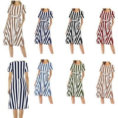 AU27.69 • Buy Maternity Dress Summer Casual Short Sleeve Round Neckline Striped Skirt Costumes