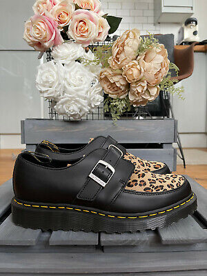 £79 • Buy Dr MARTENS RAMSEY MONK Black Leopard Smooth Hair On Shoes UK 9 10 EU 43 44 RARE