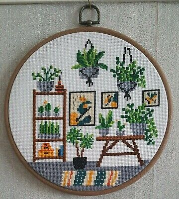 £30 • Buy Large Completed Finished Botanical Plants Cross Stitch Handmade In Hoop