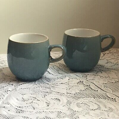 £24.99 • Buy Two Lovely Denby Blue AZURE  Mugs CURVED And Excellent Condition