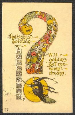 $ CDN37.49 • Buy Halloween Holiday Will Goblins Get Me When I Dream Nash Jol Postcard 1914